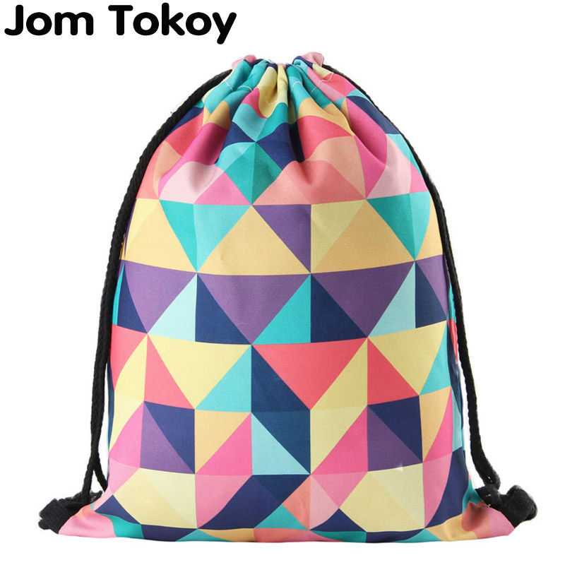 New Fashion Women Geometric Backpack 3D Printing Travel Softback  Women Mochila Drawstring Bag Mens Backpacks