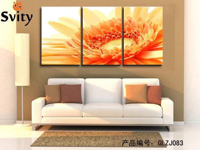 3 Pieces Modern Big The Orange Flowers Oil Canvas Painting Wall Decorations Living  Room Print Modular