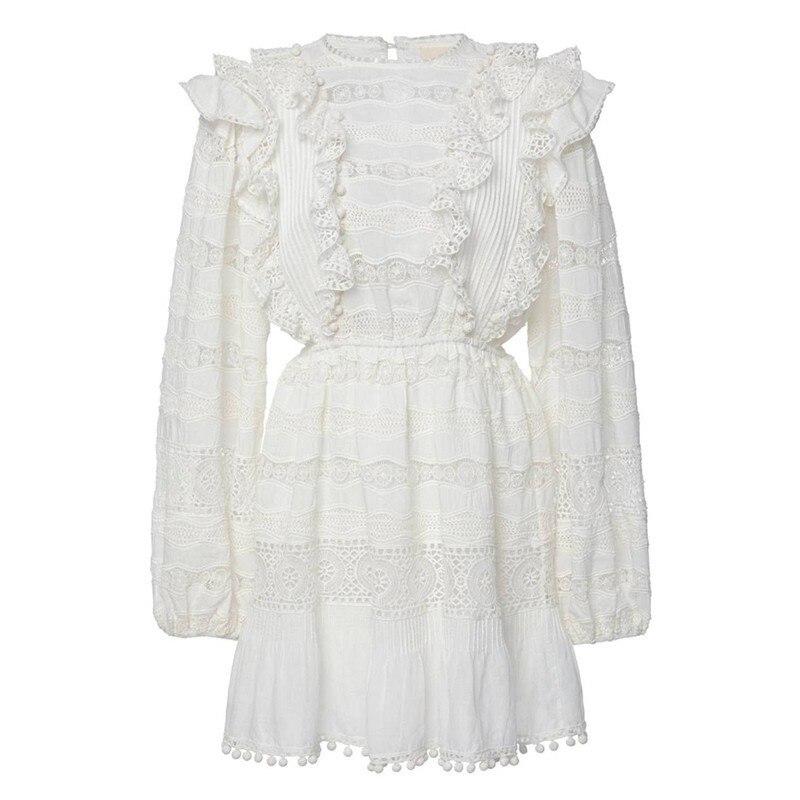 CHICEVER été élégant solide évider robe pour les femmes O cou lanterne manches taille haute une ligne Mini les robes 2019 mode - 3