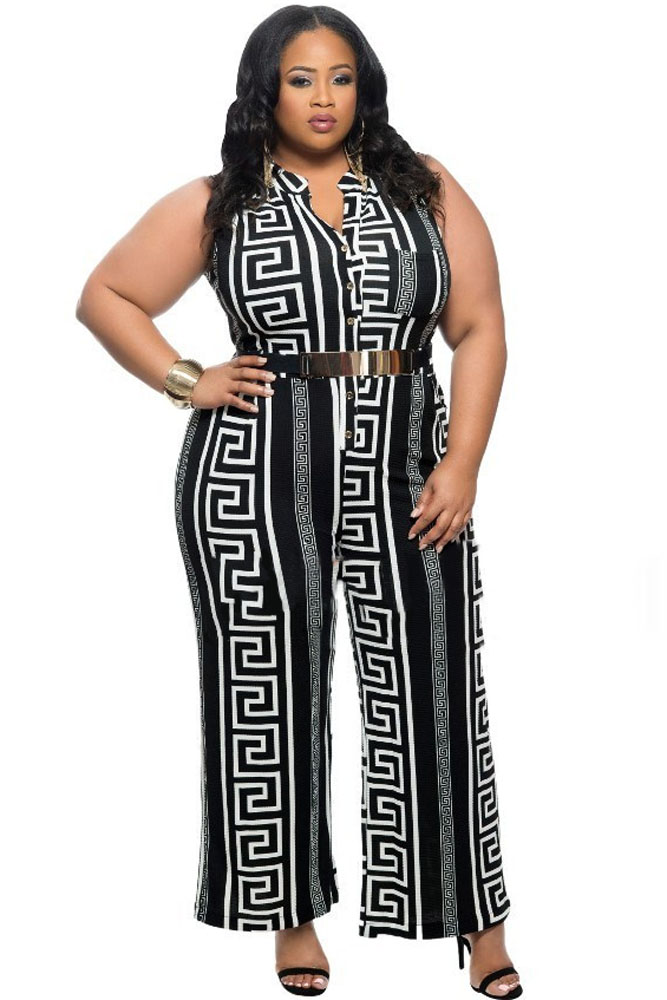 21a8ced02c8 Wide Leg Jumpsuit Overalls Fashion Plus Size Black Print Gold Belted ...