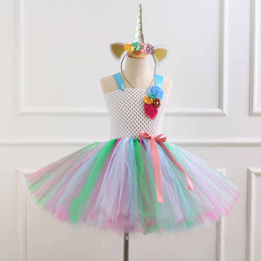 a5071d97 ... 7 Style Flower Girls Unicorn Tutu Dress With Headband Fancy Girl Party Dress  Rainbow Tulle Princess