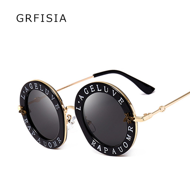 a85a701006 GRFISIA Sunglasses Women 2018 G Brand Designer Vintage Round Sun Glasses  With Words Glasses Frame UV Travel Ladies Shades G076