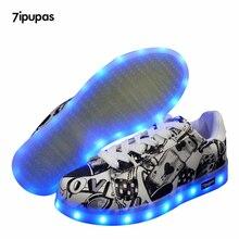 7 ipupas Rechargeable Rougeoyant sneakers garçon casual Led enfants chaussures enfants avec des lumières up lumineux lumineux led sneaker pour fille