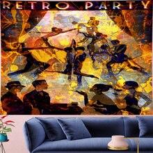 Psychedelic ретро постер для вечеринки гобелен винтажный узор
