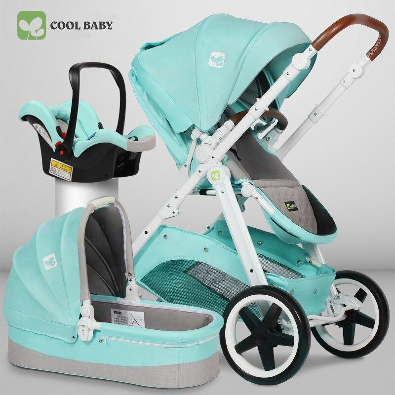 Cool bébé 3 en 1 poussette marque haute qualité nouveau-né bébé suspension bidirectionnelle haute paysage poussette bébé quatre roues chariot