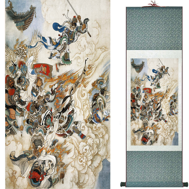The monkey king caused havoc in heaven art painting silk scroll painting Monkey King Wreaks Havoc in Heaven painting 2018082445(China)