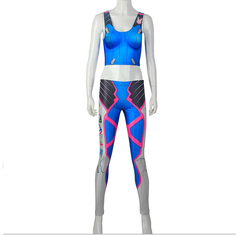 010cfe943cd21 ... Womens Game Ow Dva Cosplay Costume Slim Games Tops Pants Over D.va Blue  Leggings ...