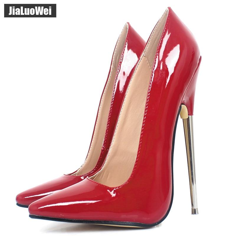 Zapatos de tacón jialuowei para mujer, 18cm, Ultra alto, puntiagudos, fetiche sexi, tacones finos, zapatos de fiesta de boda, color personalizado Nuevas botas a la moda para mujer, tacón de aguja, puntiagudas, botas de tacón alto largo de piel sin cordones, zapatos formales con tacón