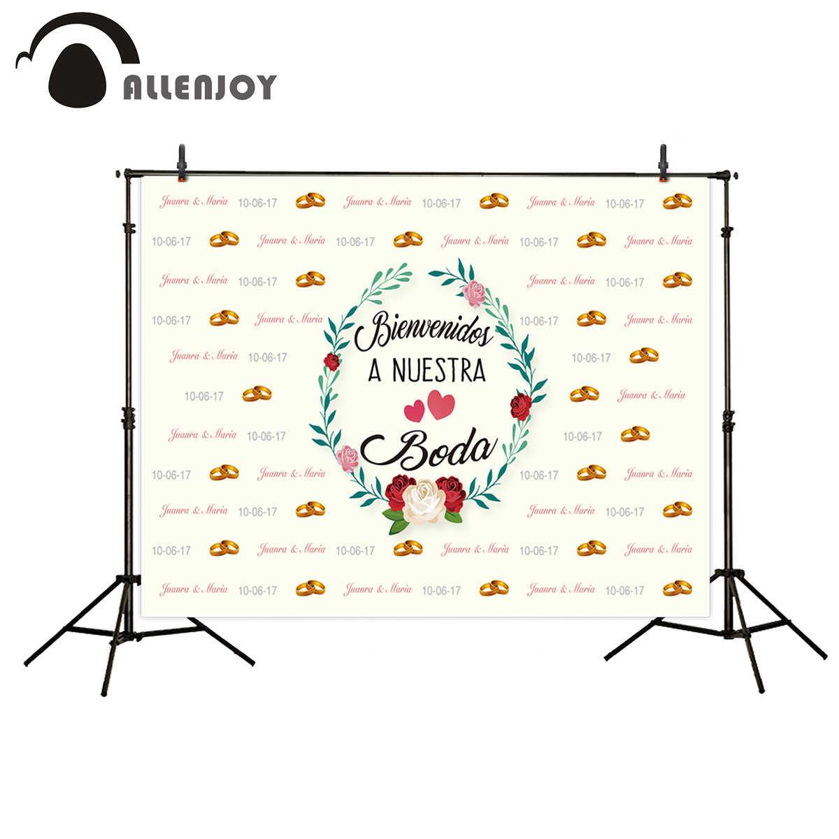 Allenjoy фотокамера свадебный фон-кольца Цветы пользовательское имя и дата фоны для фотостудии