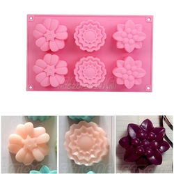 6 cavity mixed flowers silicone mold soap cupcakes muffin for homemade moulds t025 .jpg 250x250