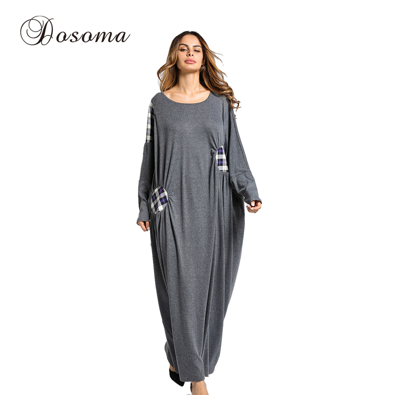 Women's Maxi Dress Winter Abaya Patch Robes Loose Style Thickening Knitted Cotton Jilbab Muslim Middle East Islamic Clothing women s maxi dress winter abaya striped robes loose style thickening knitted cotton jilbab muslim middle east islamic clothing