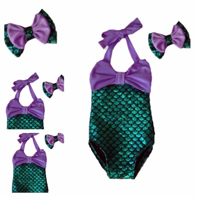 0935121788b1c Kids swimwear one piece children swimsuit girls mermaid bathing suit cute  bikinis mayo headwear bow baby swimming clothing set