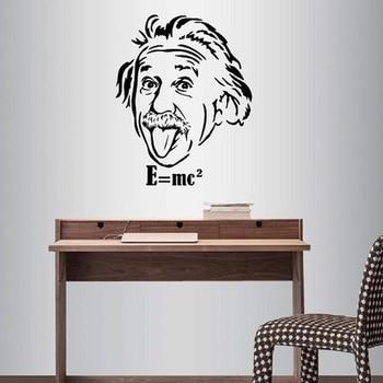 Calcomanía de vinilo para pared, decoración del hogar, pegatina artística, Albert Einstein, científico, físico, cara, aula, habitación, Mural extraíble C101
