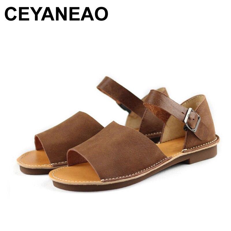 CEYANEAO damskie sandały letnie buty 100% autentyczne skórzane kostki pasek sandały na płaskim obcasie obuwie damskie (6958 2) w Sandały damskie od Buty na AliExpress - 11.11_Double 11Singles' Day 1