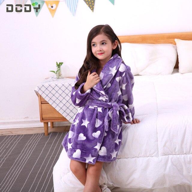 f6fb1e38c448 Pajama Sets winter autumn purple Sleepwear cute Robe Double flannel coral  velvet bathrobe 4 5 6 7 8 9 10 11 12 13 14 years Girl