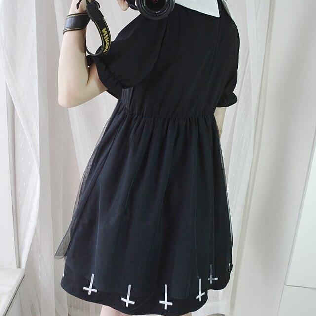 Vintage Gothic Cross Mini Dress Women Black Retro A-Line Dress Puff Sleeve Goth Female Summer Peter pan Collar Dresses Preppy  3