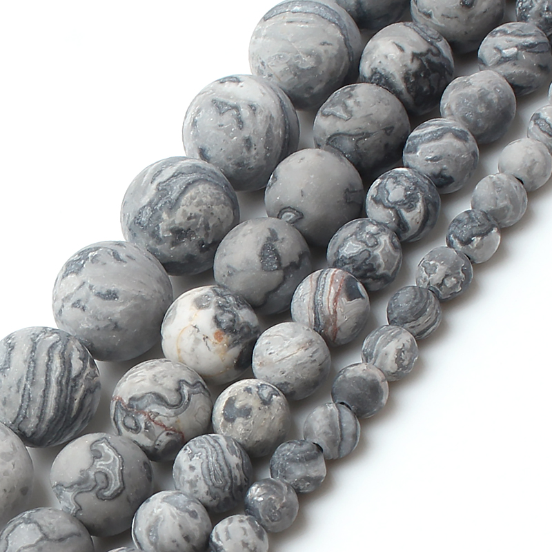 Generous Dull Polish Matte Natrual Map Jasper Stone Round Beads For Jewelry Making Bracelet Necklace 4/6/8/10mm 15inches Jewelry & Accessories Beads