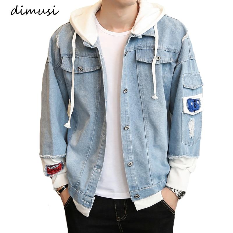 DIMUSI Autumn Mens Denim Jacket Hip Hop Fashion Thin Ripped Denim Jacket Mens Jeans Jacket Outwear Male Cowboy Coats 3XL,TA294