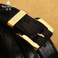 Manbang Brand Men Belt Snake skin Patterns/Genuine Leather Cowskin Belts Business Style/Golden/Silver Buckle Strap MBP0028JS