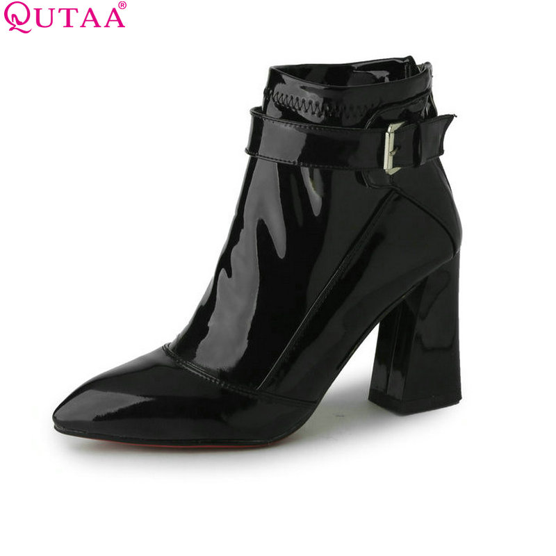 QUTAA Burgundy Pointed Toe PU Patent Leather Women Shoes Zipper Square High Heel Ankle Boots Women Motorcycle Boot Size 34-43