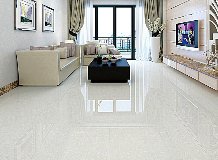 White Floor Tiles Living Room - Home Design Ideas and Pictures