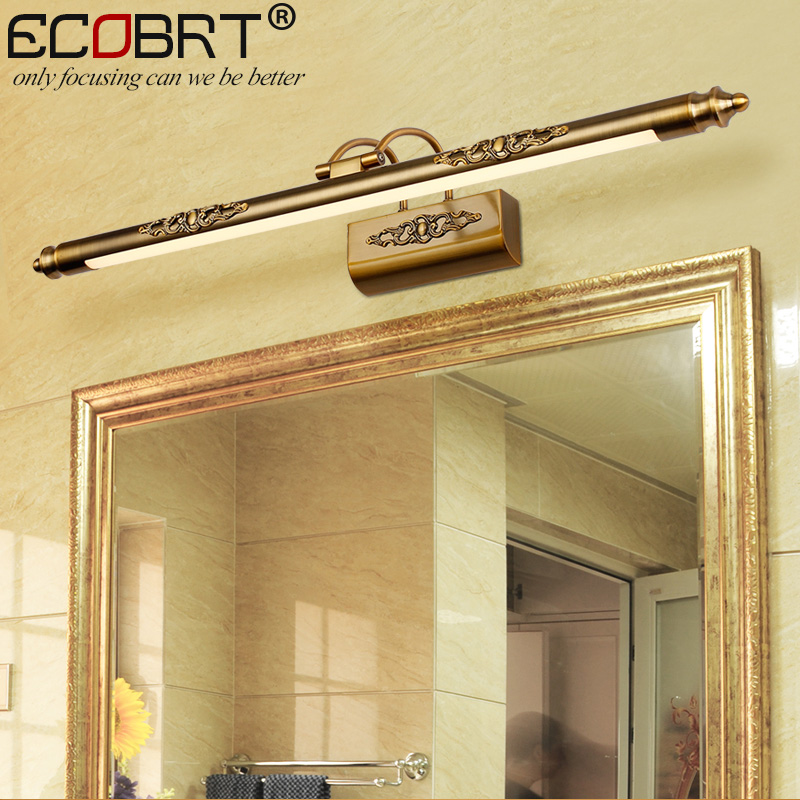 ECOBRT Modern Brass LED Wall lights Lamps in Bathroom with Swing Arm 50CM 70CM 90CM Long top Mirrors Sconces 110V 220V AC in LED Indoor Wall Lamps from Lights Lighting