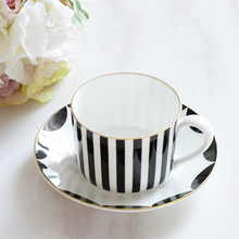 Europe high quality Black and white striped bone china coffee cup saucer Fashion afternoon tea red set 200ml