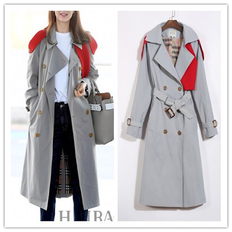 Trench   coat for women 2019 spring new British style gray High Street X-Long wind coat Patchwork double breasted windbreaker