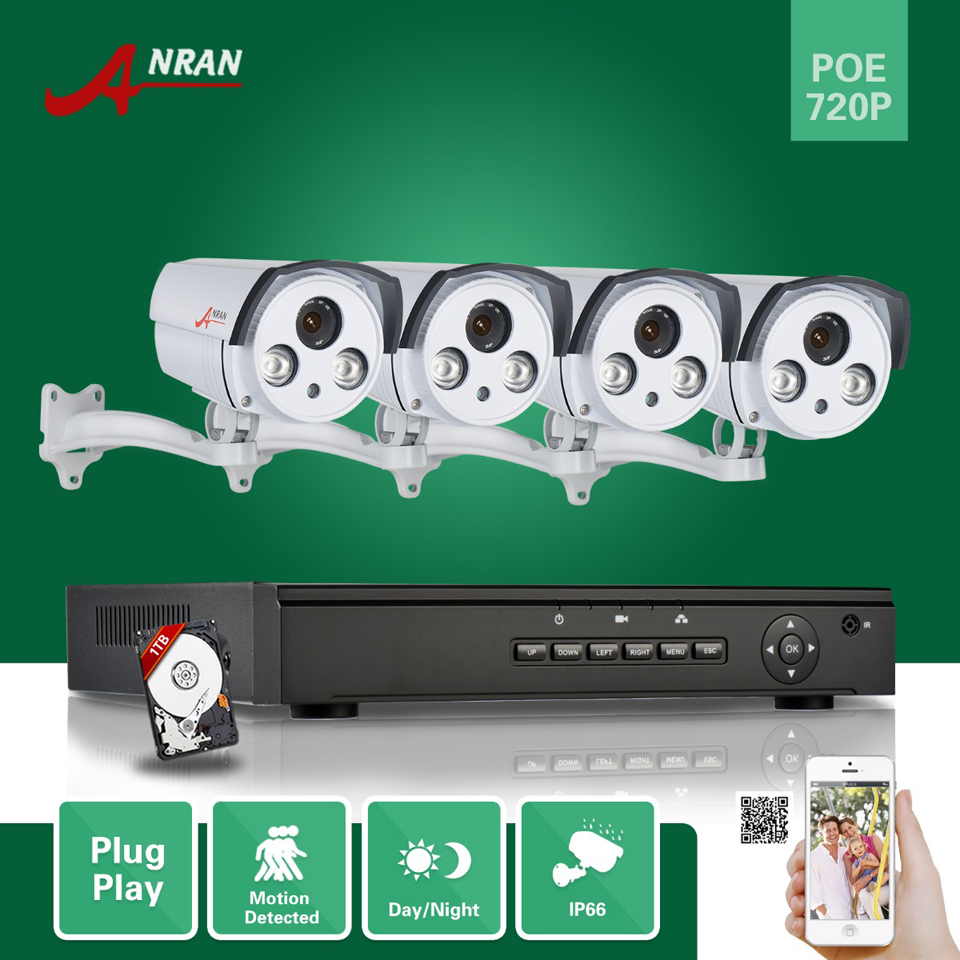 ANRAN P2P Network 4CH POE NVR HDMI 720P Array IR Day Night Waterproof POE IP Camera Surveillance Security System With 1TB HDD 16ch poe nvr 1080p 1 5u onvif poe network 16poe port recording hdmi vga p2p pc