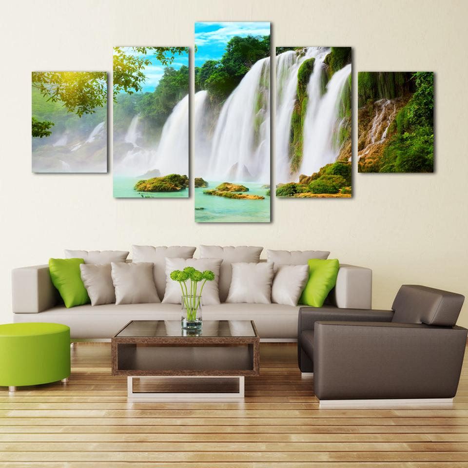 Painting Of Living Room Aliexpresscom Buy 5 Pieces Set Wall Art Pictures Nature Scenery