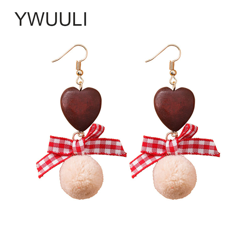 Korean Creative Plaid Cloth Bowknot Earrings for Women Wood Heart Drops Velvet Ball Dang ...