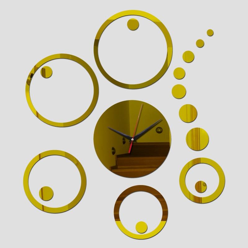 2017 home decor ayclic mirror wall clock modern design watch gift ...