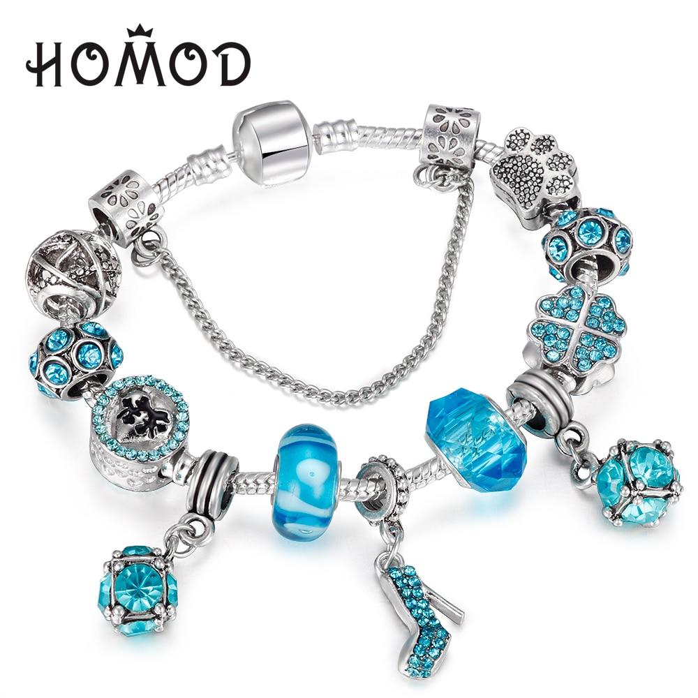 HOMOD Trendy Silver Color Charm Glass Bracelets For Women Blue Crystal Heart Beads Pandora Bracelets Pulseras DIY Jewelry