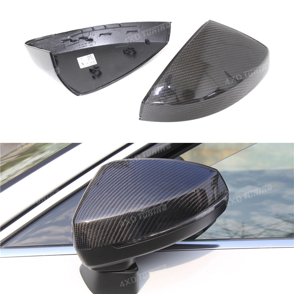 For Audi A3 S3 Mirror Carbon Fiber Rear View Mirror Cover With & Without Side Lane Assit ...