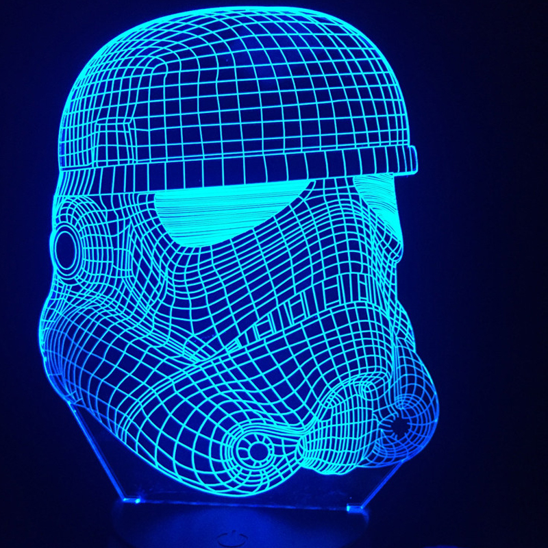 2017 3D RC Star Wars Clone force Darth White Vader Knight Warrior Figure Toy Illusion LED USB Lamp Gradient Night Light Birthday star wars bb8 droid 3d bulbing light toys new 7 color changing visual illusion led decor lamp darth vader millennium falcon toy