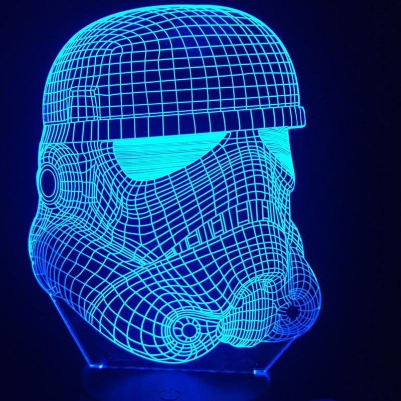 2017 3D RC Star Wars Clone force Darth Blanc Vader Chevalier guerrier Figure Jouet Illusion LED USB Lampe Dégradé de Lumière de Nuit D'anniversaire