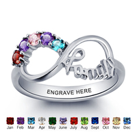 Mothers Rings Sterling Silver Rings 925 Personalized Infinity DIY Love Family Ring Cubic Zirconia Jewelry(Silveren SI1784)