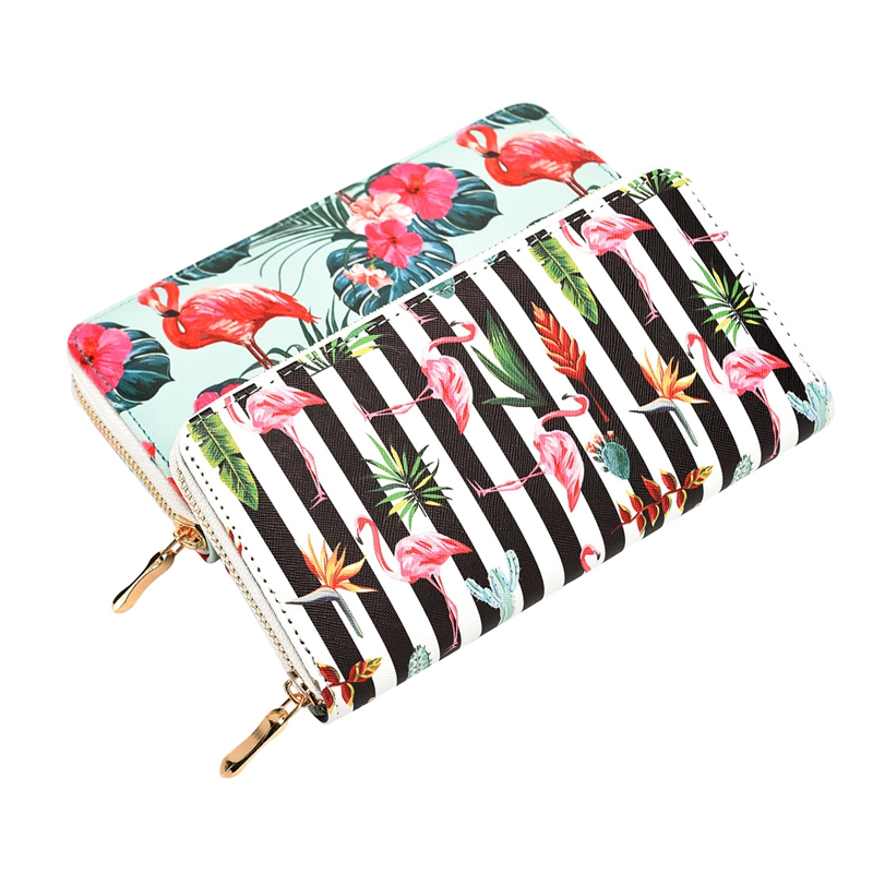 Fashion Flamingo Floral Print Women Long Wallet Large Capacity Clutch Purse Phone Bag PU Leather Ladies Card Holder Wallets fashion flamingo floral print women long wallet large capacity clutch purse phone bag pu leather ladies card holder wallets