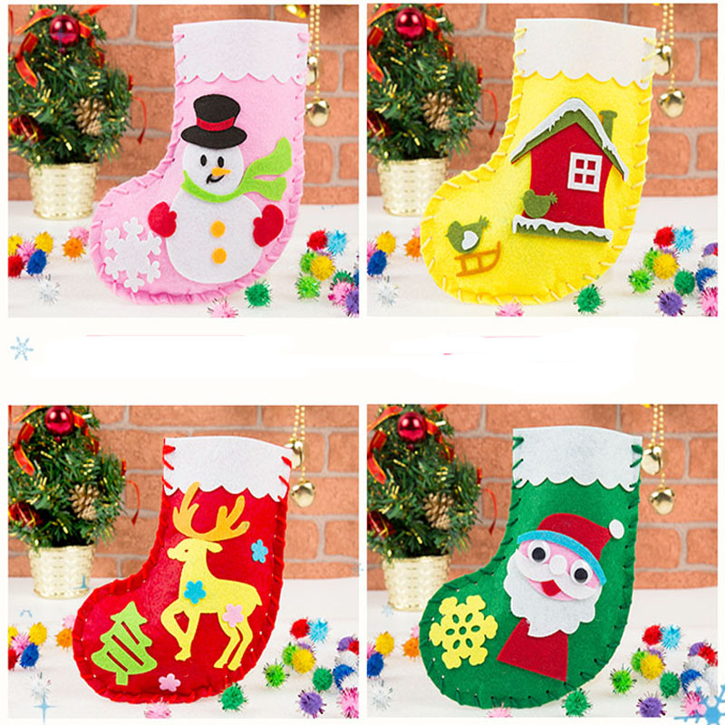 4 Designs Christmas Xmas Gift Boots DIY Felt Package Early Learning Felt Card Children handmade Nonwoven Decoration Gift