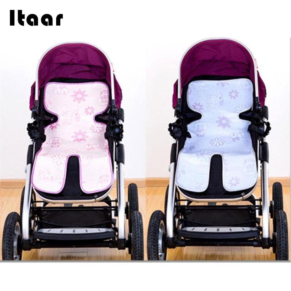 Stroller Mat for Baby Carriage Baby Chair Mat Surface : Ice Silk Fiber Baby Stroller Cool Mat Soft Keep Cool 74*34cm