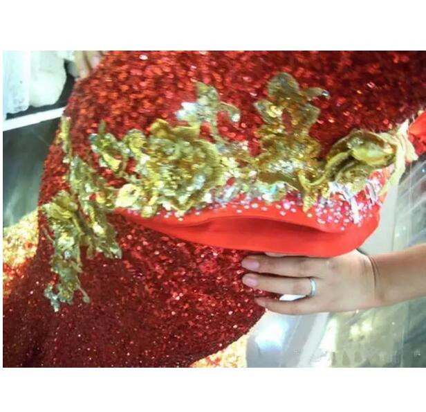 Stunning One Shoulder Mermaid sequin Prom Gowns Beaded Celebrity Gold Red Evening Dresses 2017 michael korns evening party gown