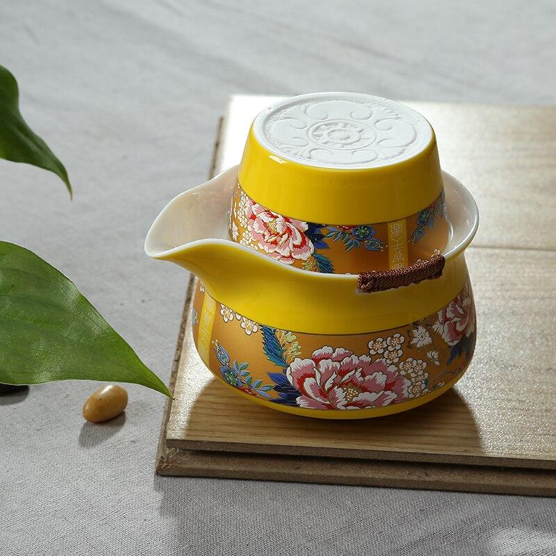 Red glaze yellow glaze ceramic tea set,travel Gai wan teaset Include 1 pot 1 cup, wealth Fantasy travel portable Gong Fu GaiwanRed glaze yellow glaze ceramic tea set,travel Gai wan teaset Include 1 pot 1 cup, wealth Fantasy travel portable Gong Fu Gaiwan