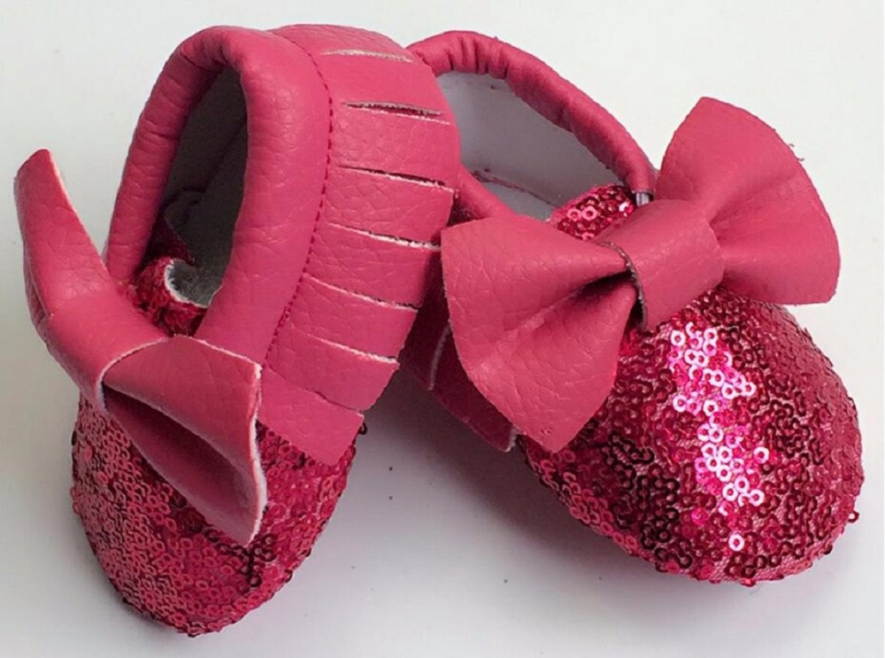 Lovely PU leather Baby sequins shoes newborn Girls bowknot Toddler First walkers Soft Sole Infant kids Tassel princess Shoes