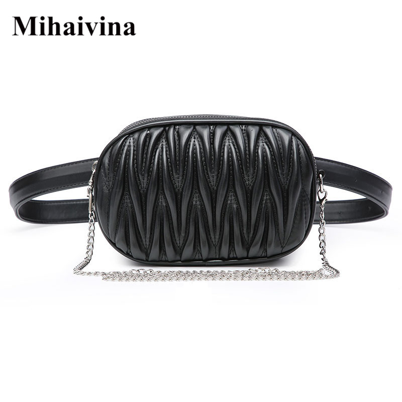 Mihaivina Fanny Pack For Women Waist Bag Pleated Round Belt Bag Luxury Brand Chain Shoulder Bags Female Leather Chest Pack Purse