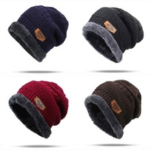 22146ed2 Men Unisex Winter Geometric Cable Knitted Hat Slouchy Jacquard Crochet  Solid Beanie Cap Thick Fleece Lining