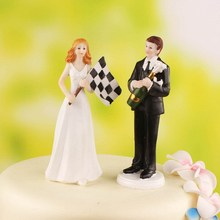 Bride and Groom car racing  sport Funny Figurine Wedding Cake Topper Personalised Event Party Supplies Marriage