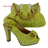 Yellow Color 2016 Lastest Design Italian Matching Shoes And Bags Italian Shoes And Bag Set With