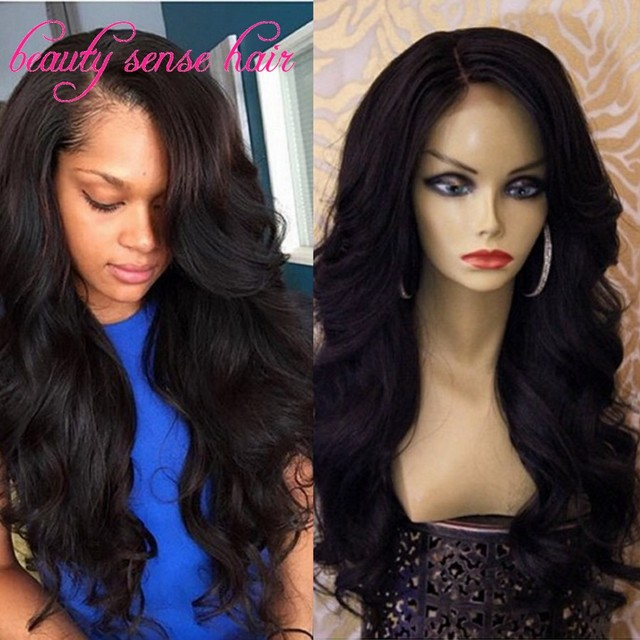 100% Unprocessed Full Lace Wigs Glueless wavy Human hair with side part bangs virgin Brazilian lace Front Wigs with baby hair