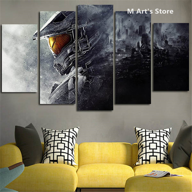 5Piece Wall Painting Canvas Prints Posters Halo 5 Guardians Video ...
