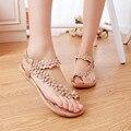 Sapatas das mulheres gladiador sandálias mulheres flip flops sandálias planas conforto Clássico Verão beading moda 2017 flor do Verão sandalias